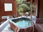 源泉かけ流しの露天風呂付き客室(大人の湯宿つるや)