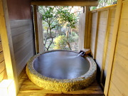 天然温泉かけ流しの露天風呂付客室(蘇山郷)