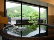 源泉掛け流しの半露天風呂付客室(鷹泉閣岩松旅館)